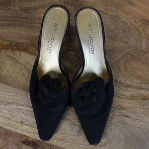 St John || Black Floral Kitten Heel Slides